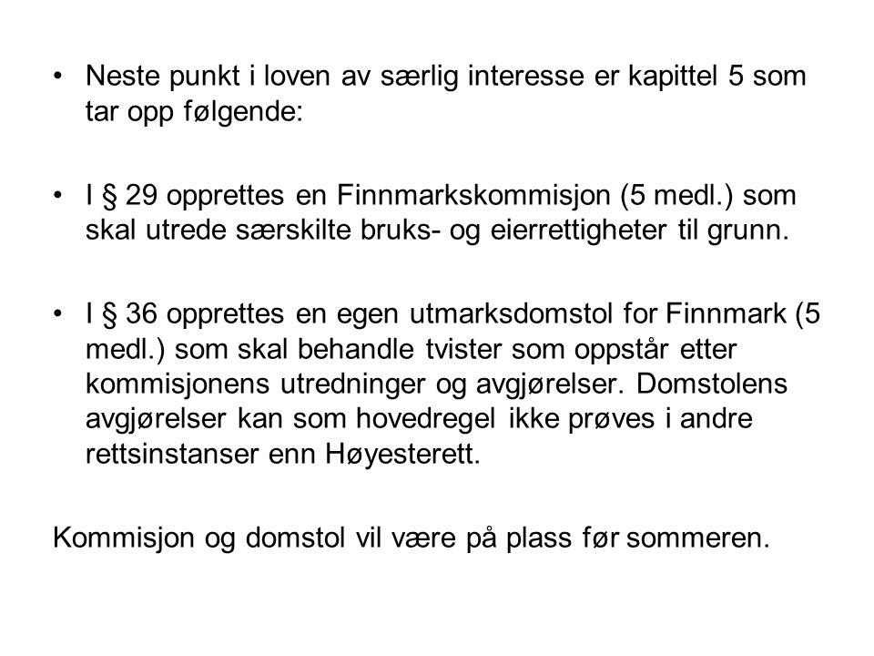 Neste punkt i loven av særlig interesse er kapittel 5 som tar opp følgende: I § 29 opprettes en Finnmarkskommisjon (5 medl.) som skal utrede særskilte bruks- og eierrettigheter til grunn.
