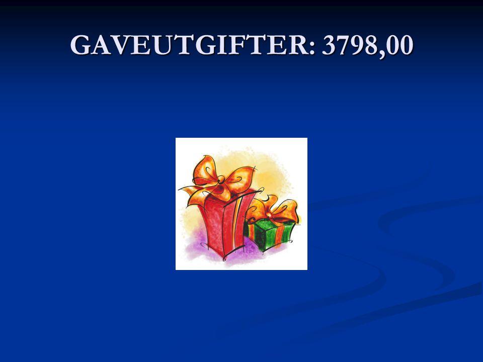 GAVEUTGIFTER: 3798,00