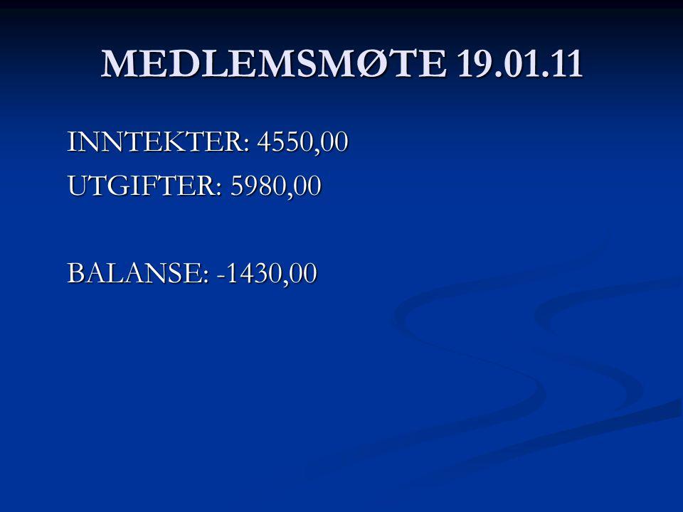 MEDLEMSMØTE 19.01.11 INNTEKTER: 4550,00 UTGIFTER: 5980,00 BALANSE: -1430,00