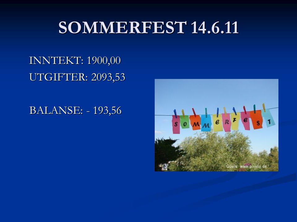 SOMMERFEST 14.6.11 INNTEKT: 1900,00 UTGIFTER: 2093,53 BALANSE: - 193,56 BALANSE: - 193,56