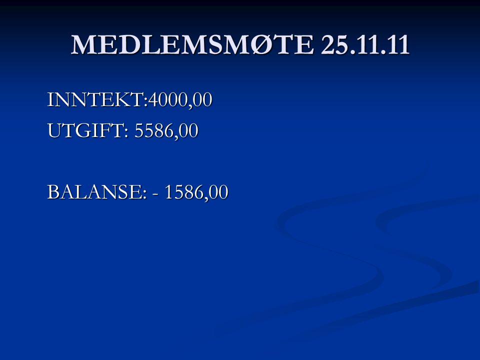 MEDLEMSMØTE 25.11.11 INNTEKT:4000,00 UTGIFT: 5586,00 BALANSE: - 1586,00