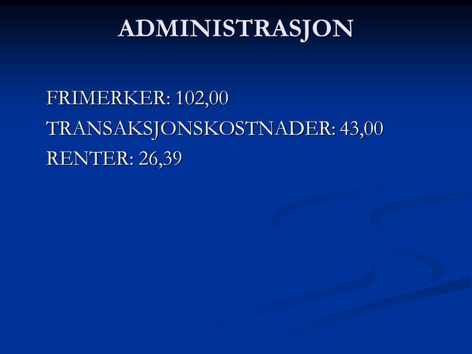 ADMINISTRASJON FRIMERKER: 102,00 TRANSAKSJONSKOSTNADER: 43,00 RENTER: 26,39