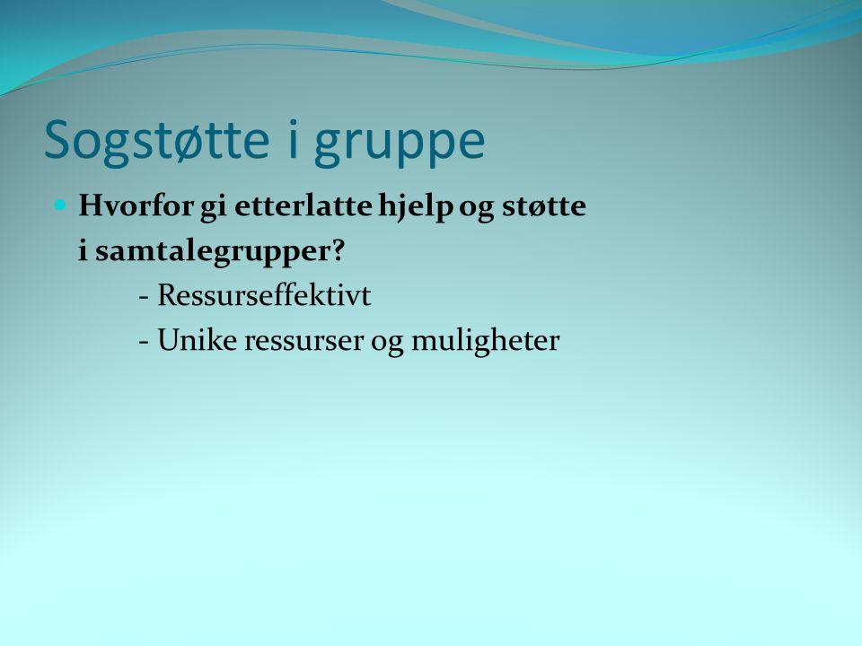 Sogstøtte i gruppe Hvorfor gi etterlatte hjelp og støtte i samtalegrupper? - Ressurseffektivt - Unike ressurser og muligheter