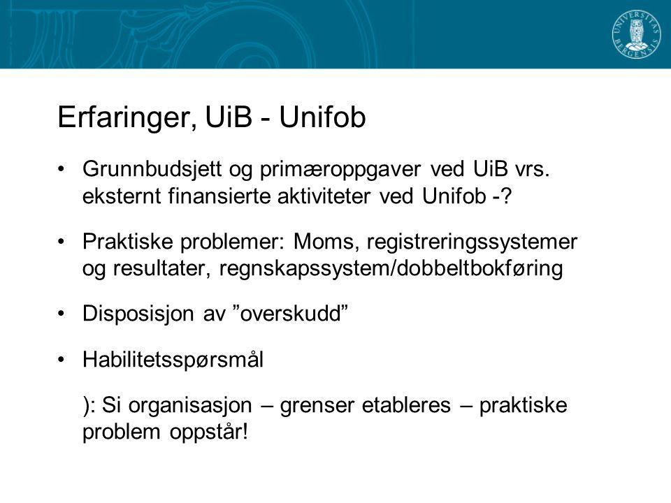 Erfaringer, UiB - Unifob Grunnbudsjett og primæroppgaver ved UiB vrs.
