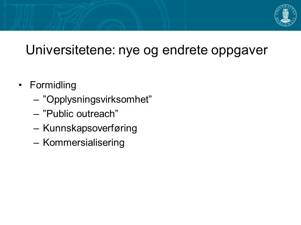 Universitetene: nye og endrete oppgaver Formidling – Opplysningsvirksomhet – Public outreach –Kunnskapsoverføring –Kommersialisering