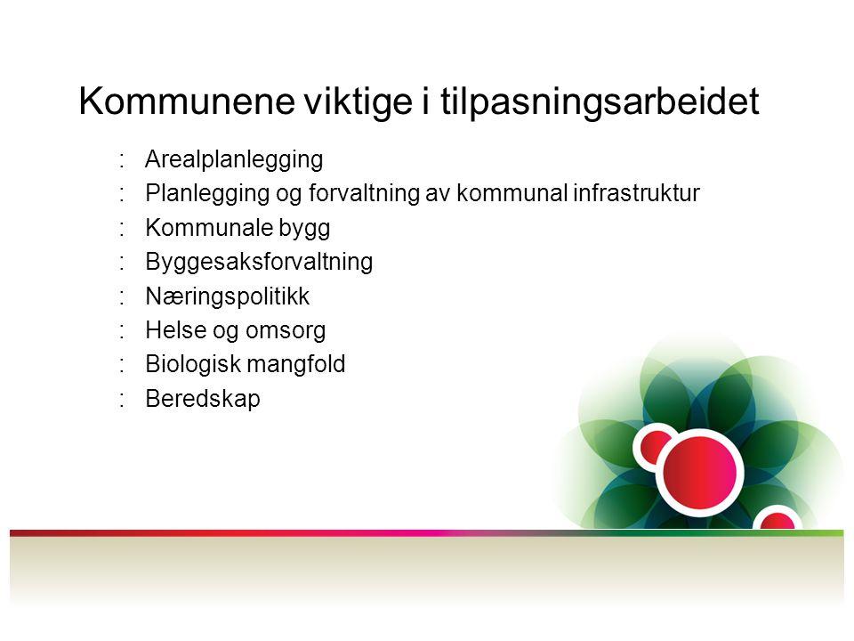 Kommunene viktige i tilpasningsarbeidet :Arealplanlegging :Planlegging og forvaltning av kommunal infrastruktur :Kommunale bygg :Byggesaksforvaltning :Næringspolitikk :Helse og omsorg :Biologisk mangfold :Beredskap