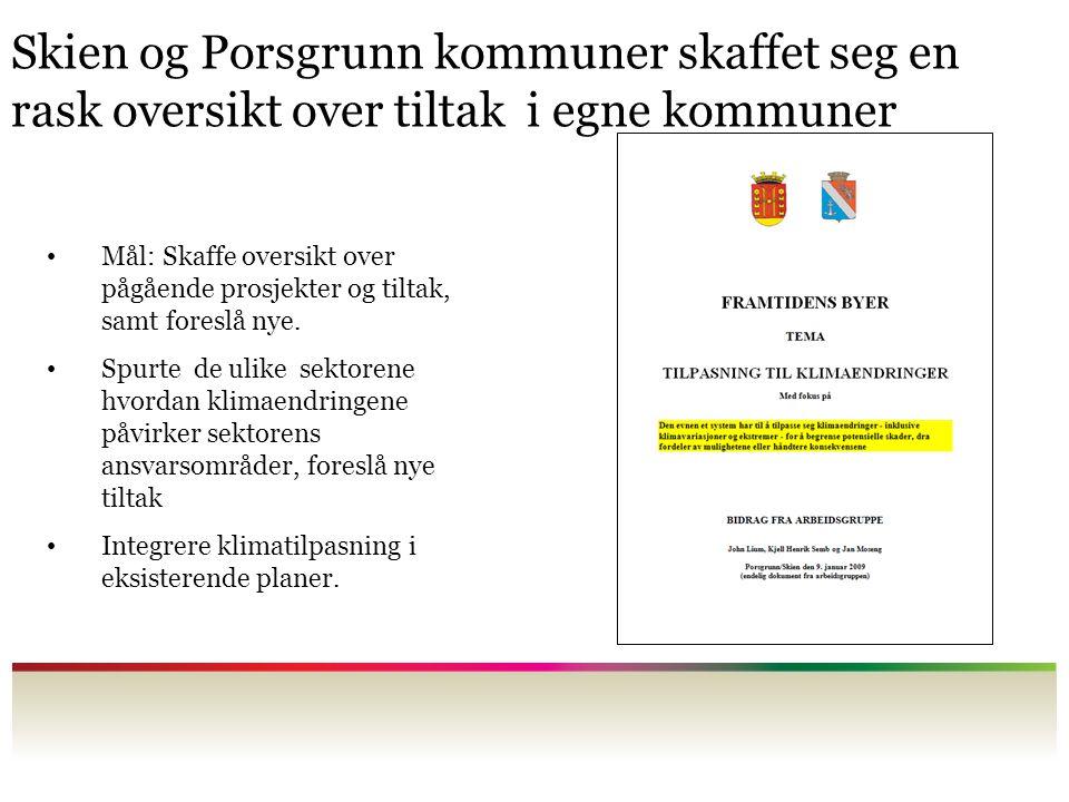 Skien og Porsgrunn kommuner skaffet seg en rask oversikt over tiltak i egne kommuner Mål: Skaffe oversikt over pågående prosjekter og tiltak, samt foreslå nye.