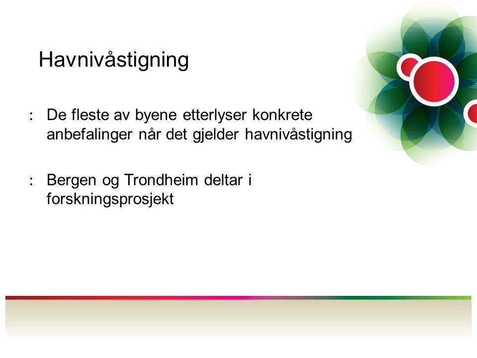 Havnivåstigning : De fleste av byene etterlyser konkrete anbefalinger når det gjelder havnivåstigning : Bergen og Trondheim deltar i forskningsprosjek