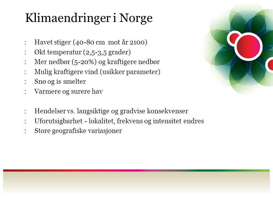 Klimaendringer i Norge :Havet stiger (40-80 cm mot år 2100) :Økt temperatur (2,5-3,5 grader) :Mer nedbør (5-20%) og kraftigere nedbør :Mulig kraftiger