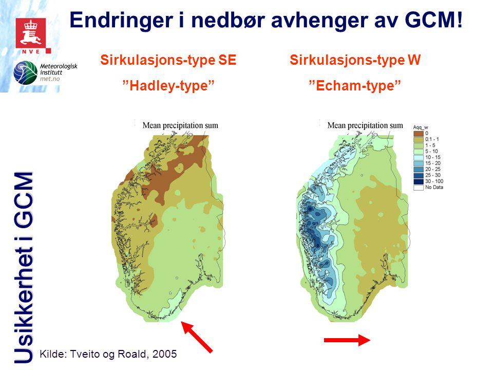 """Sirkulasjons-type SE """"Hadley-type"""" Sirkulasjons-type W """"Echam-type"""" Kilde: Tveito og Roald, 2005 Endringer i nedbør avhenger av GCM! Usikkerhet i GCM"""
