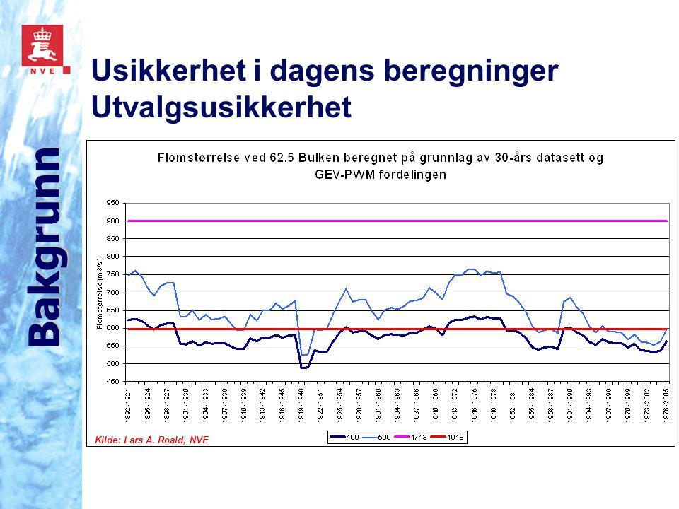 Usikkerhet i dagens beregninger Utvalgsusikkerhet Bakgrunn Kilde: Lars A. Roald, NVE