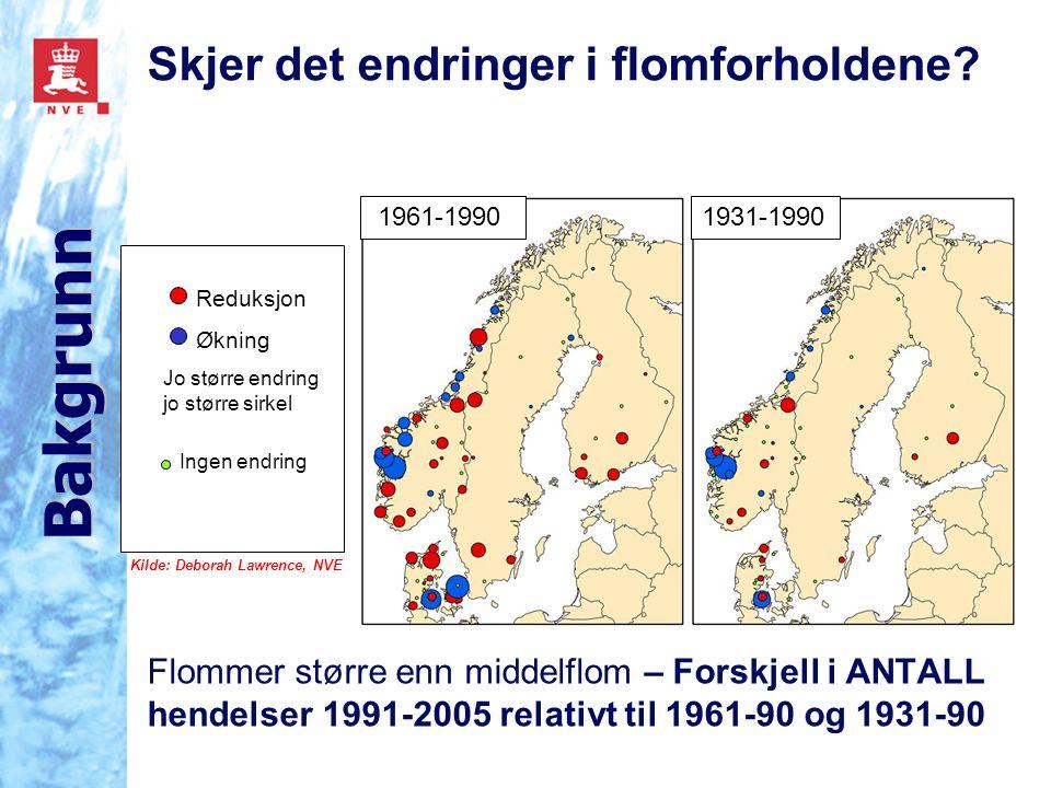 Flommer større enn middelflom – Forskjell i ANTALL hendelser 1991-2005 relativt til 1961-90 og 1931-90 Ingen endring Økning Reduksjon Jo større endrin