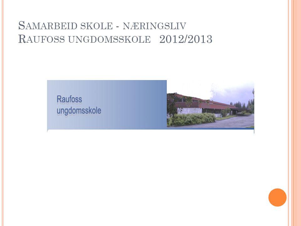 S AMARBEID SKOLE - NÆRINGSLIV R AUFOSS UNGDOMSSKOLE 2012/2013