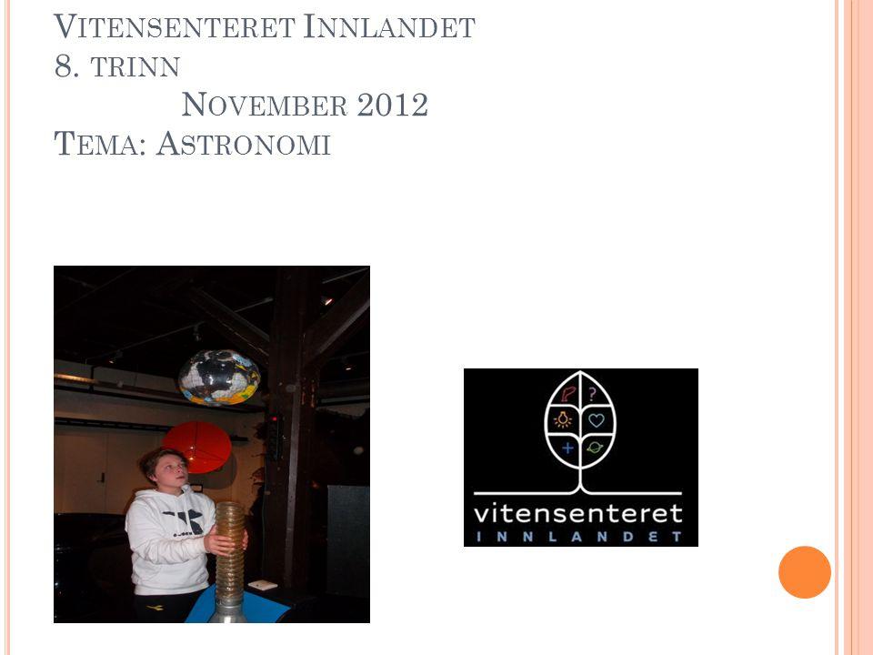 V ITENSENTERET I NNLANDET 8. TRINN N OVEMBER 2012 T EMA : A STRONOMI