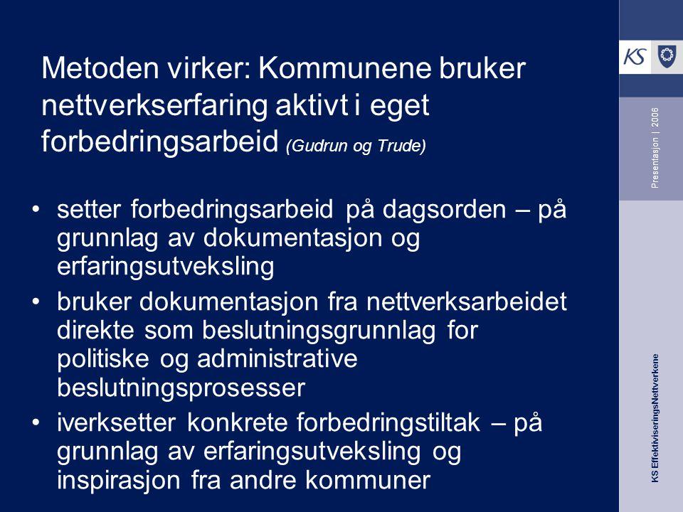KS EffektiviseringsNettverkene Presentasjon   2006 Kommuneeksempler og velferdsbeskrivelse 1.Data og faktamateriale –Kostra/TBU (dekn.grad, produktivitet osv) –Nettverkserfaringer EffNett/ASSS ( det nytter ).