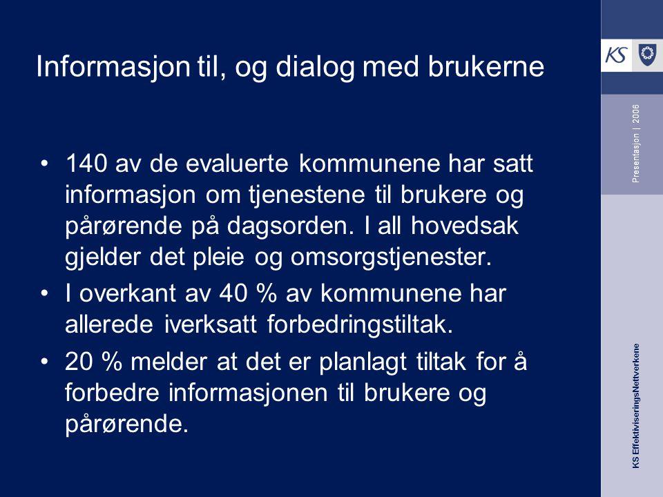 KS EffektiviseringsNettverkene Presentasjon | 2006 Informasjon til, og dialog med brukerne 140 av de evaluerte kommunene har satt informasjon om tjenestene til brukere og pårørende på dagsorden.