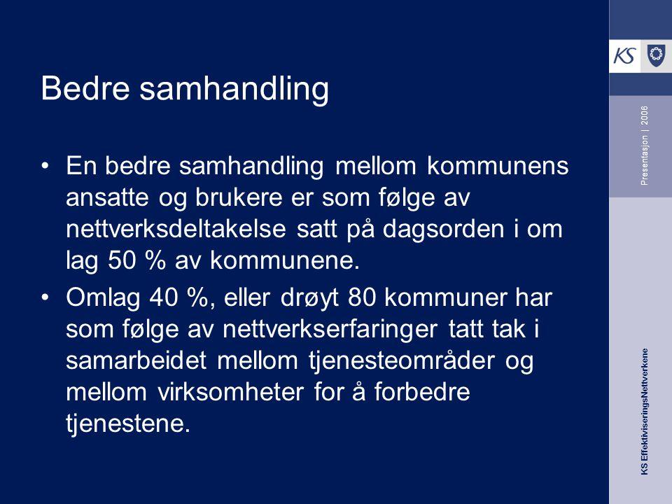 KS EffektiviseringsNettverkene Presentasjon   2006 Hvilke faktorer påvirker nytteverdien for kommunen i nettverksarbeid.