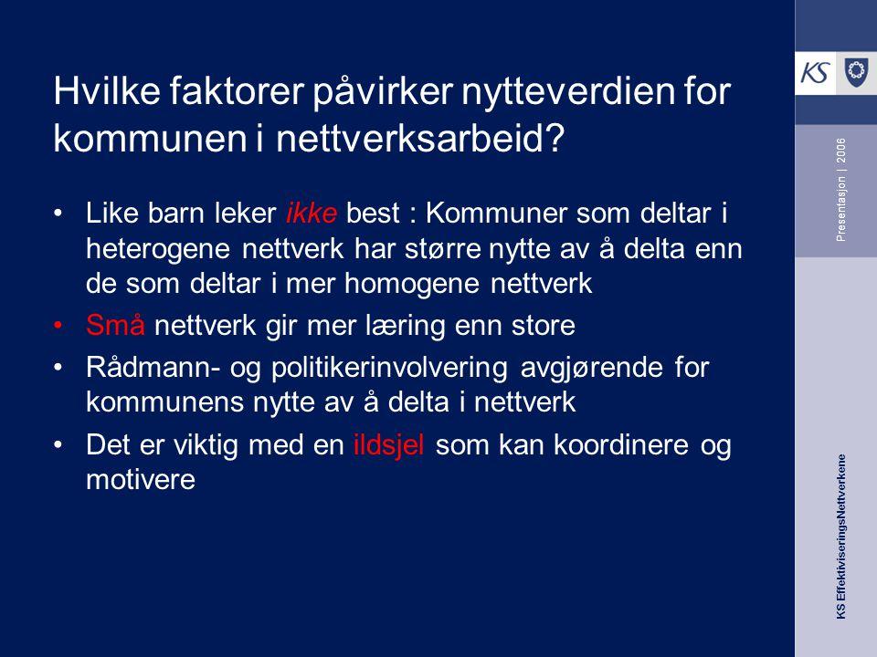 KS EffektiviseringsNettverkene Presentasjon | 2006 Hvilke faktorer påvirker nytteverdien for kommunen i nettverksarbeid.