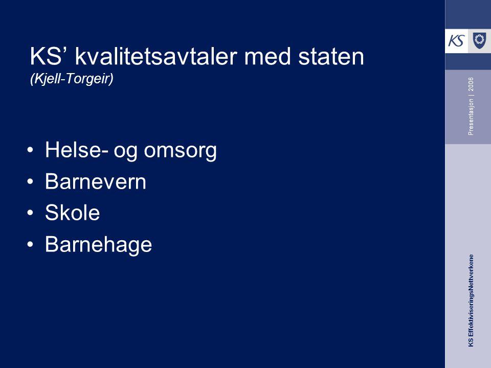 KS EffektiviseringsNettverkene Presentasjon | 2006 KS' kvalitetsavtaler med staten (Kjell-Torgeir) Helse- og omsorg Barnevern Skole Barnehage