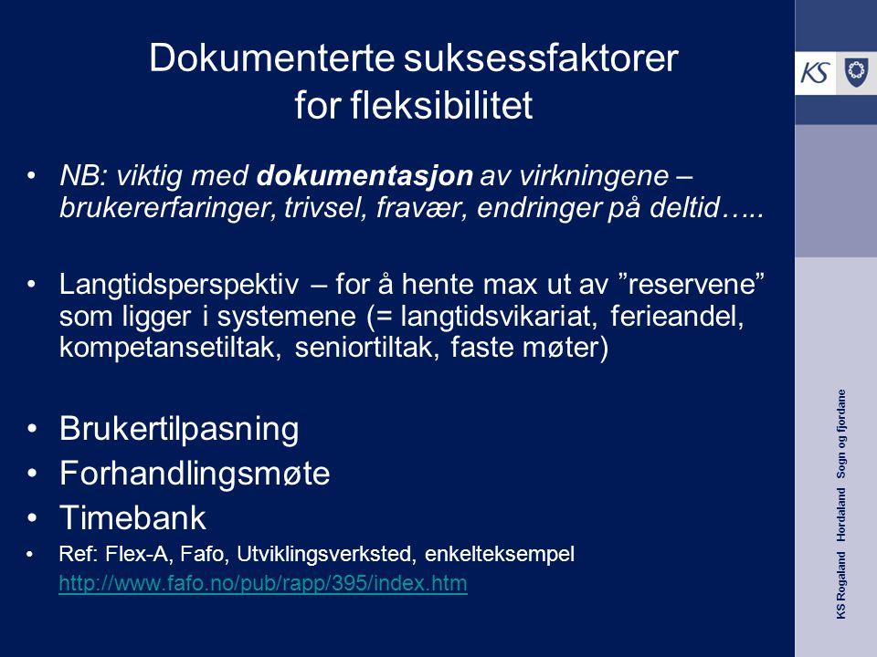 KS Rogaland Hordaland Sogn og fjordane Dokumenterte suksessfaktorer for fleksibilitet NB: viktig med dokumentasjon av virkningene – brukererfaringer, trivsel, fravær, endringer på deltid…..