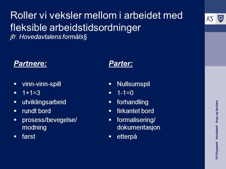 KS Rogaland Hordaland Sogn og fjordane Roller vi veksler mellom i arbeidet med fleksible arbeidstidsordninger jfr. Hovedavtalens formåls§ Partnere: 