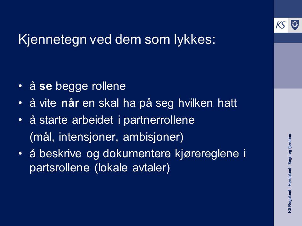 KS Rogaland Hordaland Sogn og fjordane Kjennetegn ved dem som lykkes: å se begge rollene å vite når en skal ha på seg hvilken hatt å starte arbeidet i partnerrollene (mål, intensjoner, ambisjoner) å beskrive og dokumentere kjørereglene i partsrollene (lokale avtaler)