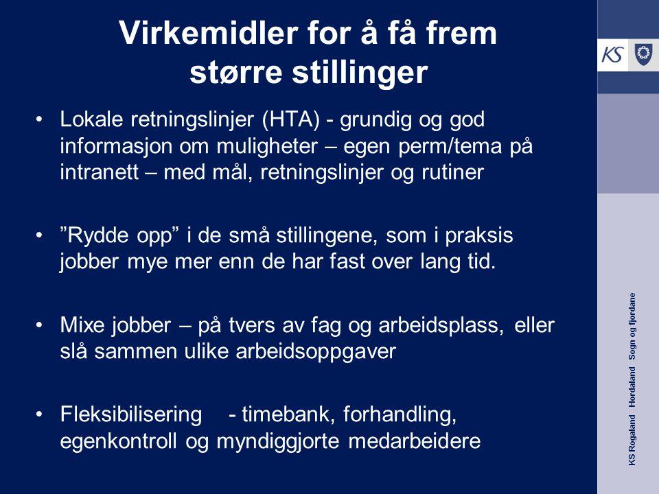 KS Rogaland Hordaland Sogn og fjordane Virkemidler for å få frem større stillinger Lokale retningslinjer (HTA) - grundig og god informasjon om mulighe