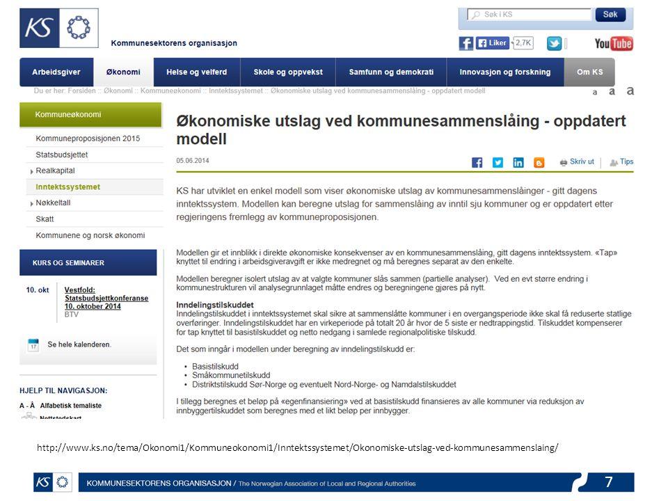 7 http://www.ks.no/tema/Okonomi1/Kommuneokonomi1/Inntektssystemet/Okonomiske-utslag-ved-kommunesammenslaing/