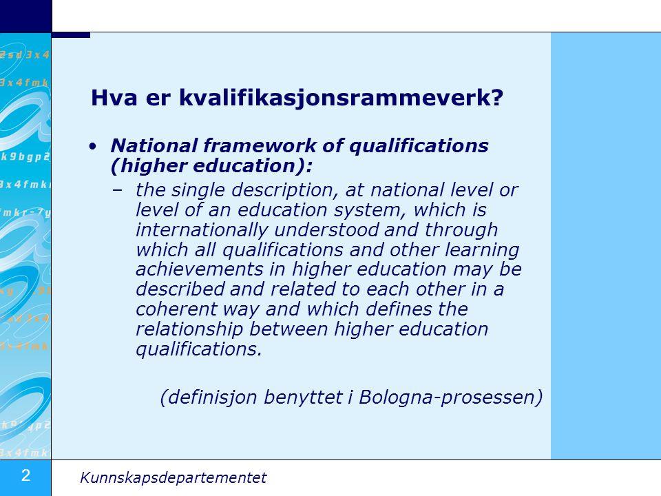 2 Kunnskapsdepartementet Hva er kvalifikasjonsrammeverk? National framework of qualifications (higher education): –the single description, at national