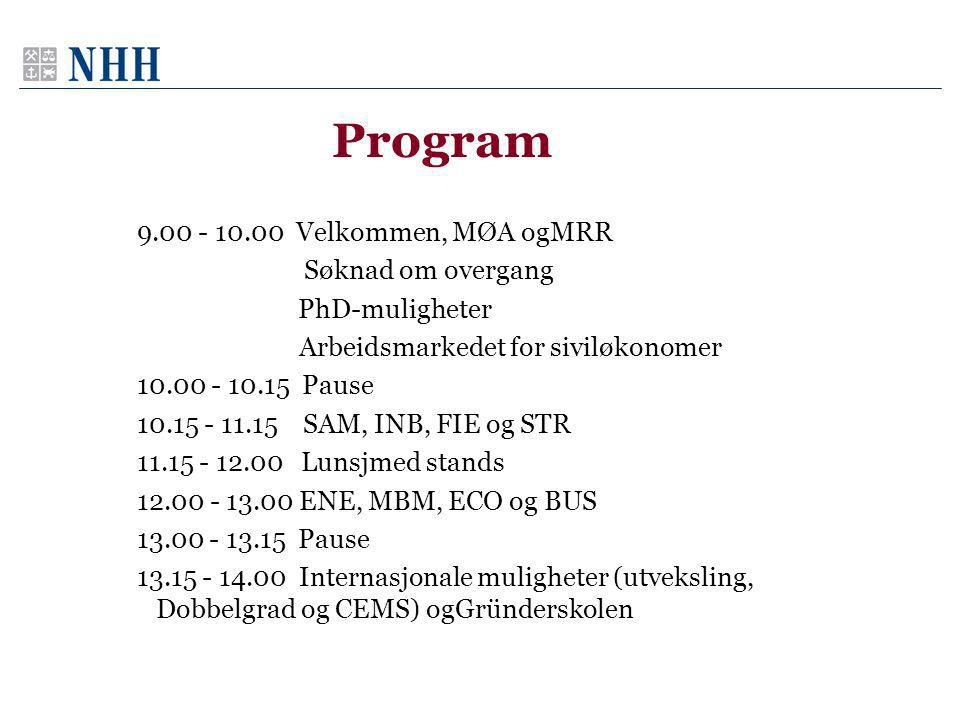 Program 9.00 - 10.00 Velkommen, MØA ogMRR Søknad om overgang PhD-muligheter Arbeidsmarkedet for siviløkonomer 10.00 - 10.15 Pause 10.15 - 11.15 SAM, INB, FIE og STR 11.15 - 12.00 Lunsjmed stands 12.00 - 13.00 ENE, MBM, ECO og BUS 13.00 - 13.15 Pause 13.15 - 14.00 Internasjonale muligheter (utveksling, Dobbelgrad og CEMS) ogGründerskolen