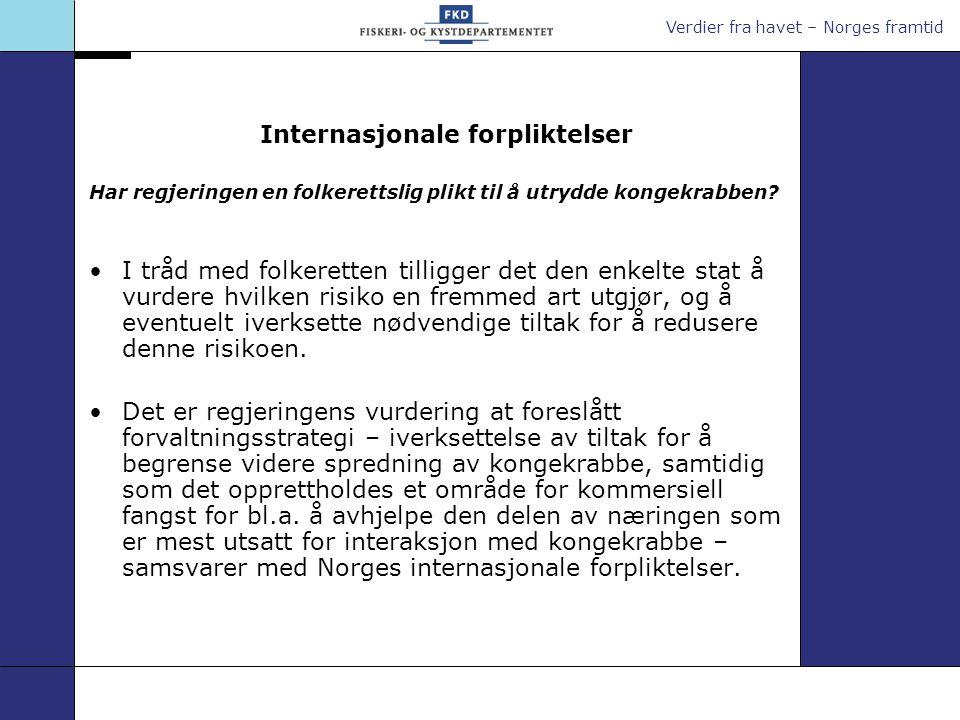 Verdier fra havet – Norges framtid Internasjonale forpliktelser Har regjeringen en folkerettslig plikt til å utrydde kongekrabben? I tråd med folkeret