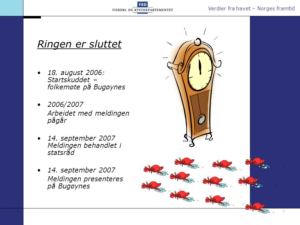 Verdier fra havet – Norges framtid Ringen er sluttet 18. august 2006: Startskuddet – folkemøte på Bugøynes 2006/2007 Arbeidet med meldingen pågår 14.