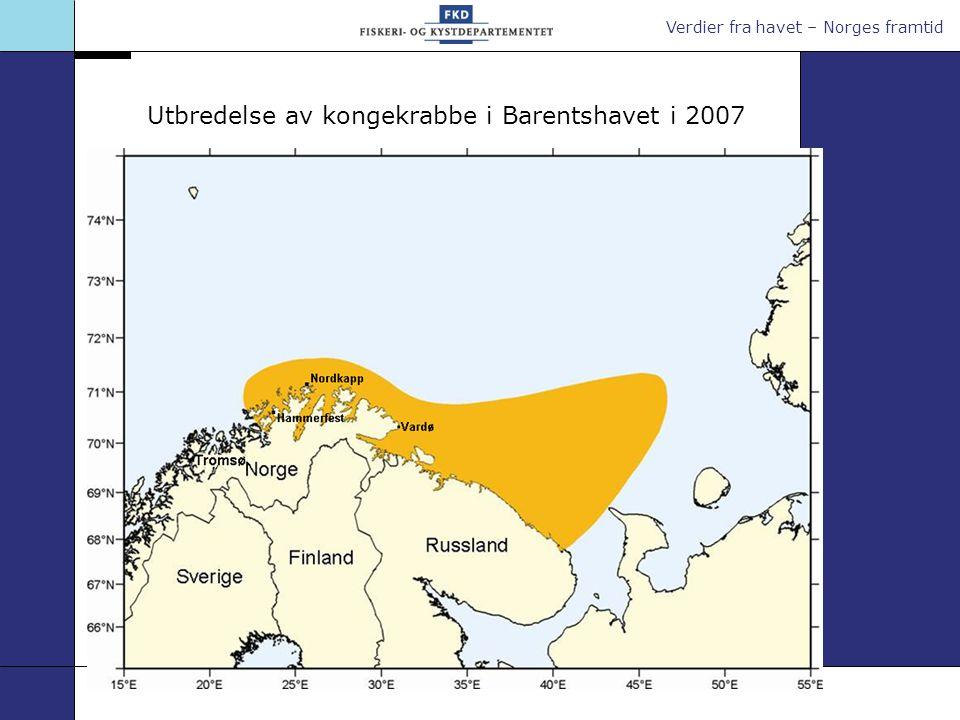 Verdier fra havet – Norges framtid Overordnede forvaltningsprinsipper for kongekrabbe Regjeringens forslag (forts.) Innenfor målsettingen om å begrense spredning, vil det være hensiktsmessig å opprettholde et avgrenset område for kommersiell fangst utenfor Øst-Finnmark Kommersielt område avgrenses: omot vest ved 26°Ø - indre del av Porsangerfjorden holdes utenfor omot nord fra 71°15 N/26ºØ (ca.