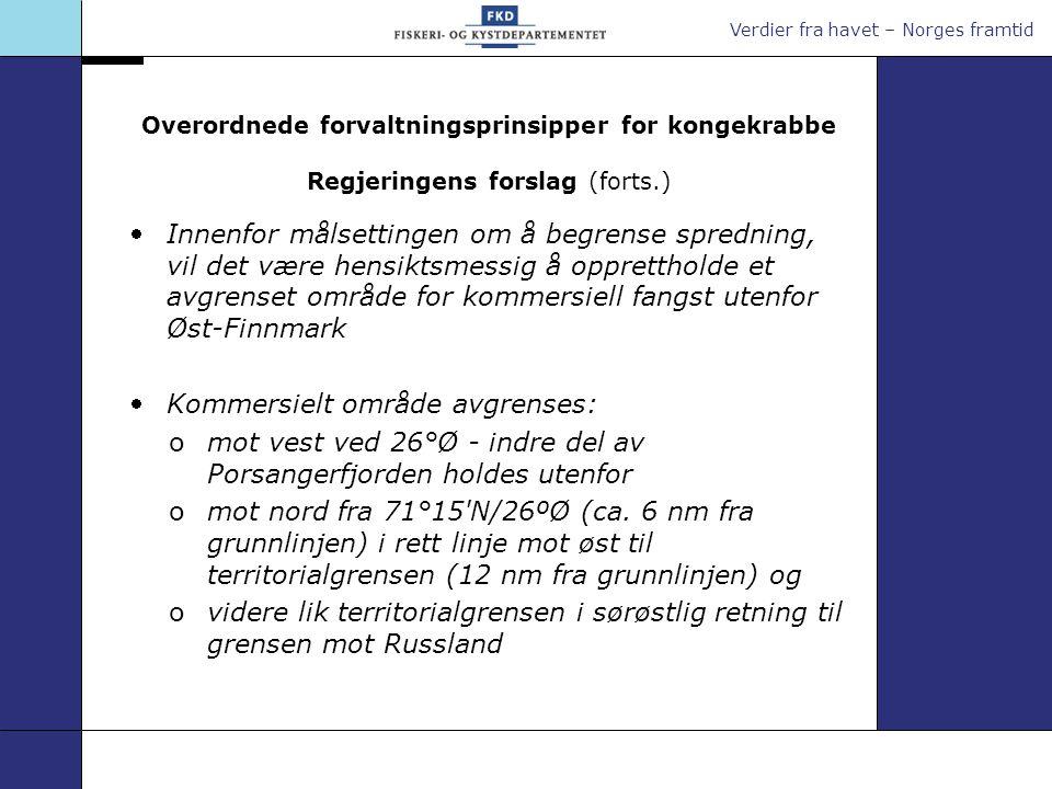 Verdier fra havet – Norges framtid Nytt avgrenset kommersielt område Regjeringens forslag: