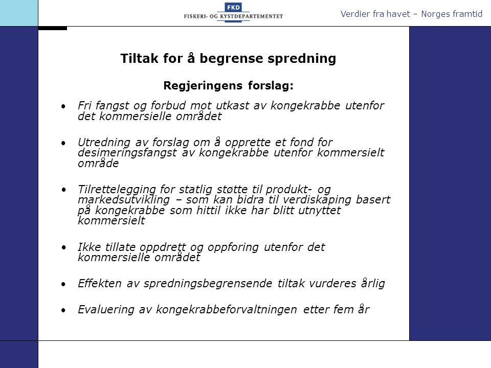 Verdier fra havet – Norges framtid Tiltak for å begrense spredning Regjeringens forslag: Fri fangst og forbud mot utkast av kongekrabbe utenfor det k