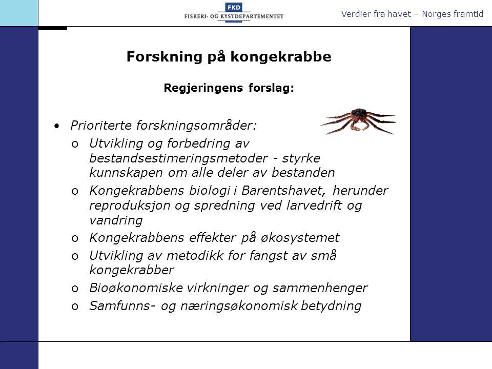 Verdier fra havet – Norges framtid Forskning på kongekrabbe Regjeringens forslag: Prioriterte forskningsområder: oUtvikling og forbedring av bestandse