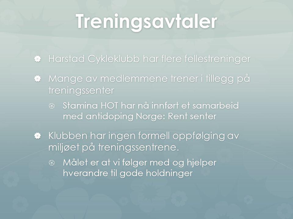 Treningsavtaler  Harstad Cykleklubb har flere fellestreninger  Mange av medlemmene trener i tillegg på treningssenter  Stamina HOT har nå innført et samarbeid med antidoping Norge: Rent senter  Klubben har ingen formell oppfølging av miljøet på treningssentrene.