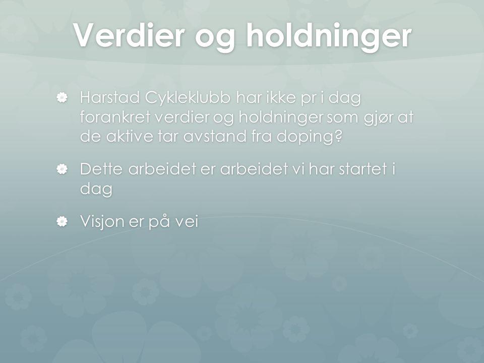 Verdier og holdninger  Harstad Cykleklubb har ikke pr i dag forankret verdier og holdninger som gjør at de aktive tar avstand fra doping.
