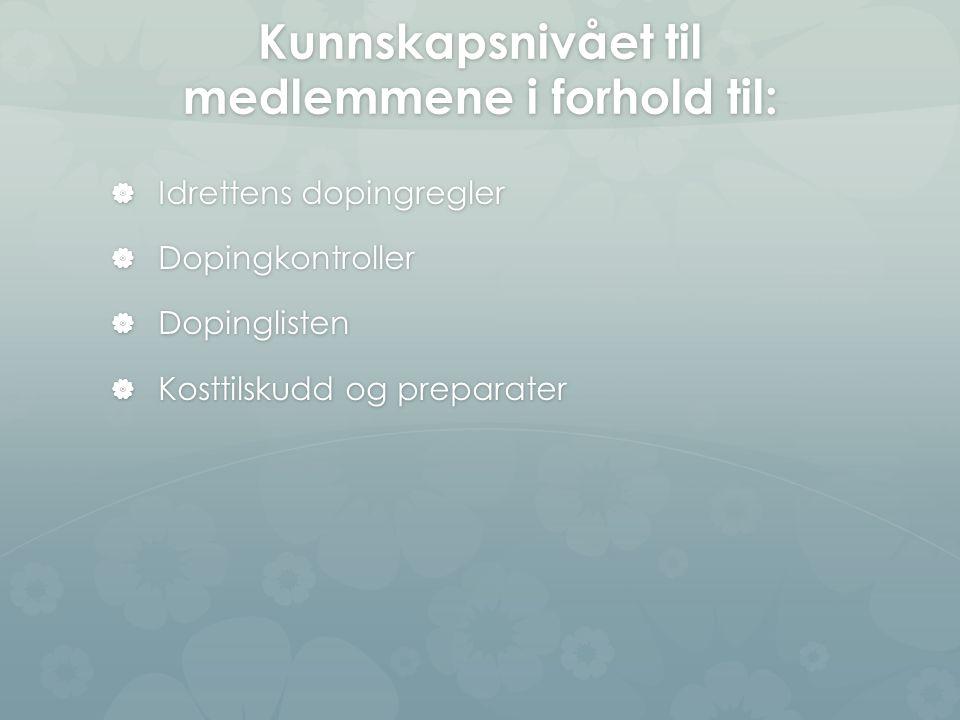 Kunnskapsnivået til medlemmene i forhold til:  Idrettens dopingregler  Dopingkontroller  Dopinglisten  Kosttilskudd og preparater