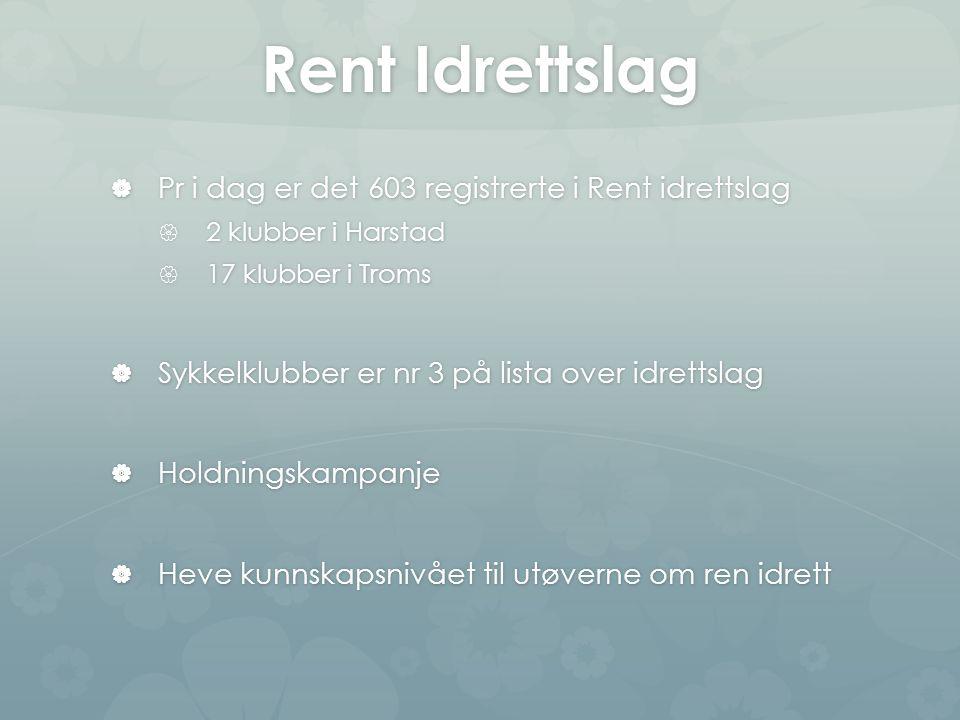 Rent Idrettslag  Pr i dag er det 603 registrerte i Rent idrettslag  2 klubber i Harstad  17 klubber i Troms  Sykkelklubber er nr 3 på lista over idrettslag  Holdningskampanje  Heve kunnskapsnivået til utøverne om ren idrett
