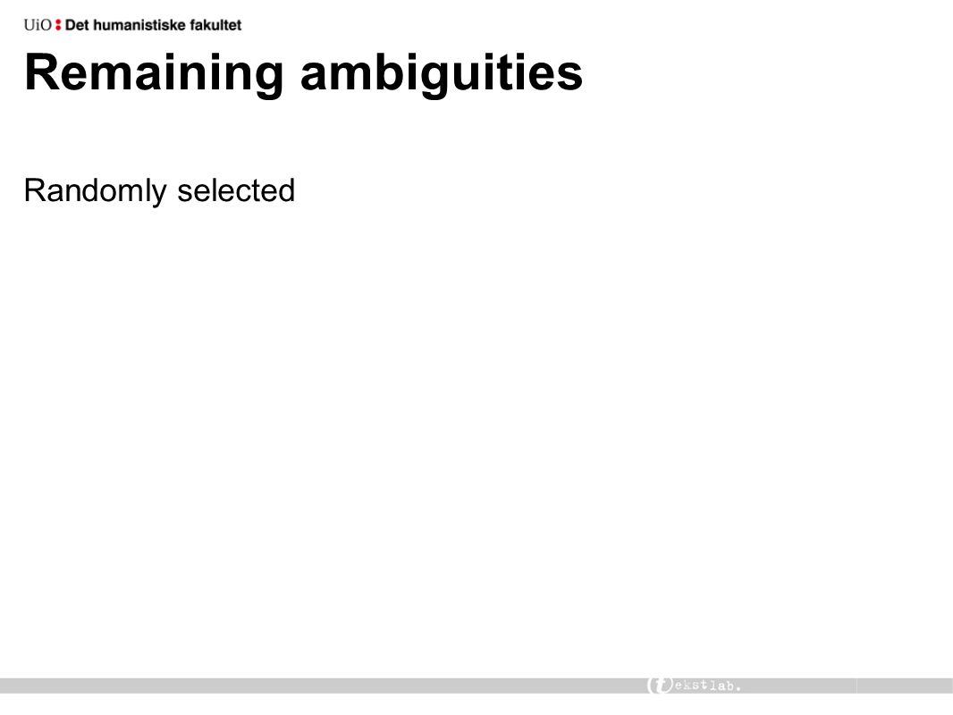Remaining ambiguities Randomly selected