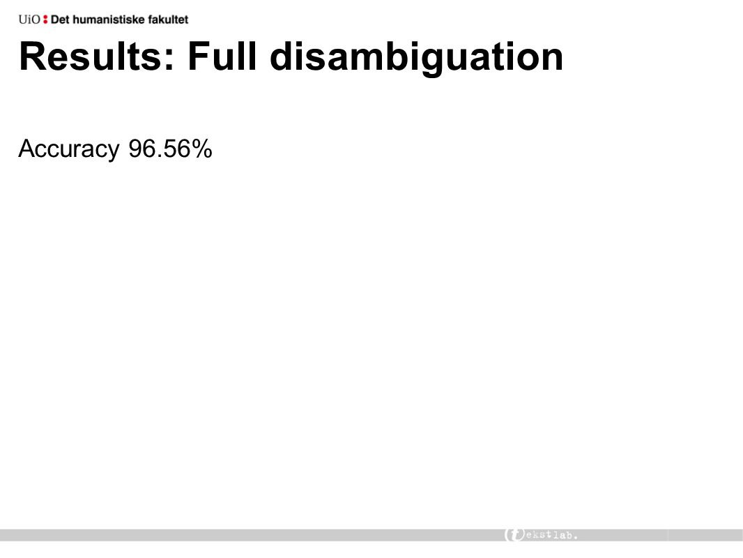 Results: Full disambiguation Accuracy 96.56%