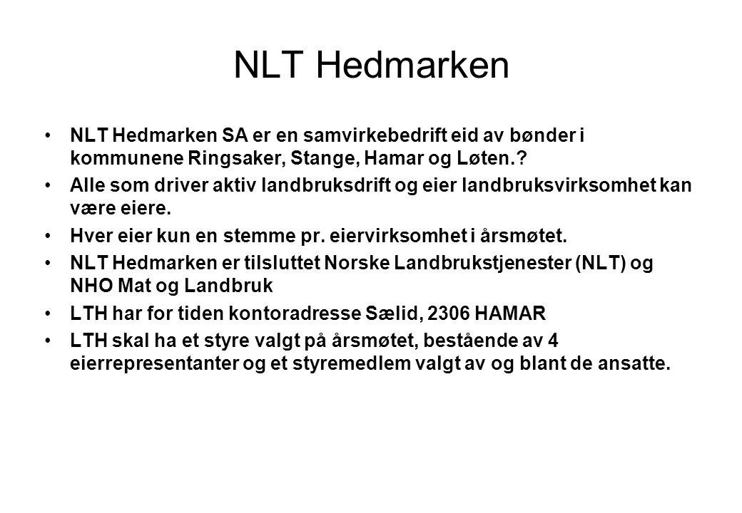 NLT Hedmarken NLT Hedmarken SA er en samvirkebedrift eid av bønder i kommunene Ringsaker, Stange, Hamar og Løten..