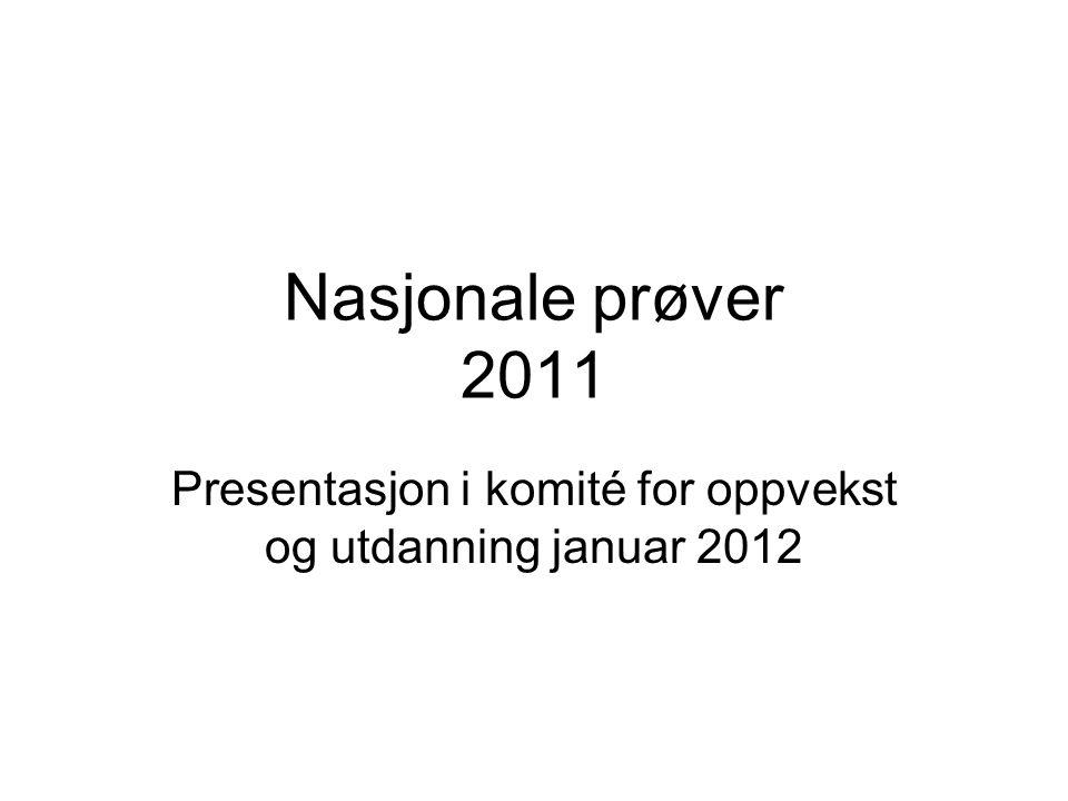 Nasjonale prøver 2011 Presentasjon i komité for oppvekst og utdanning januar 2012
