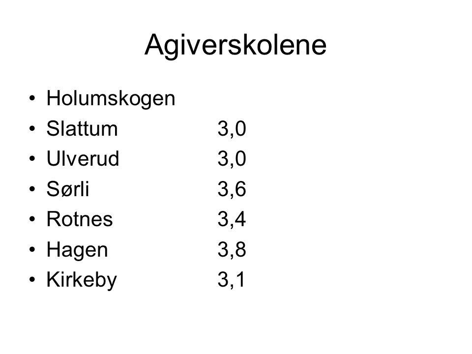 Agiverskolene Holumskogen Slattum3,0 Ulverud3,0 Sørli3,6 Rotnes3,4 Hagen3,8 Kirkeby3,1