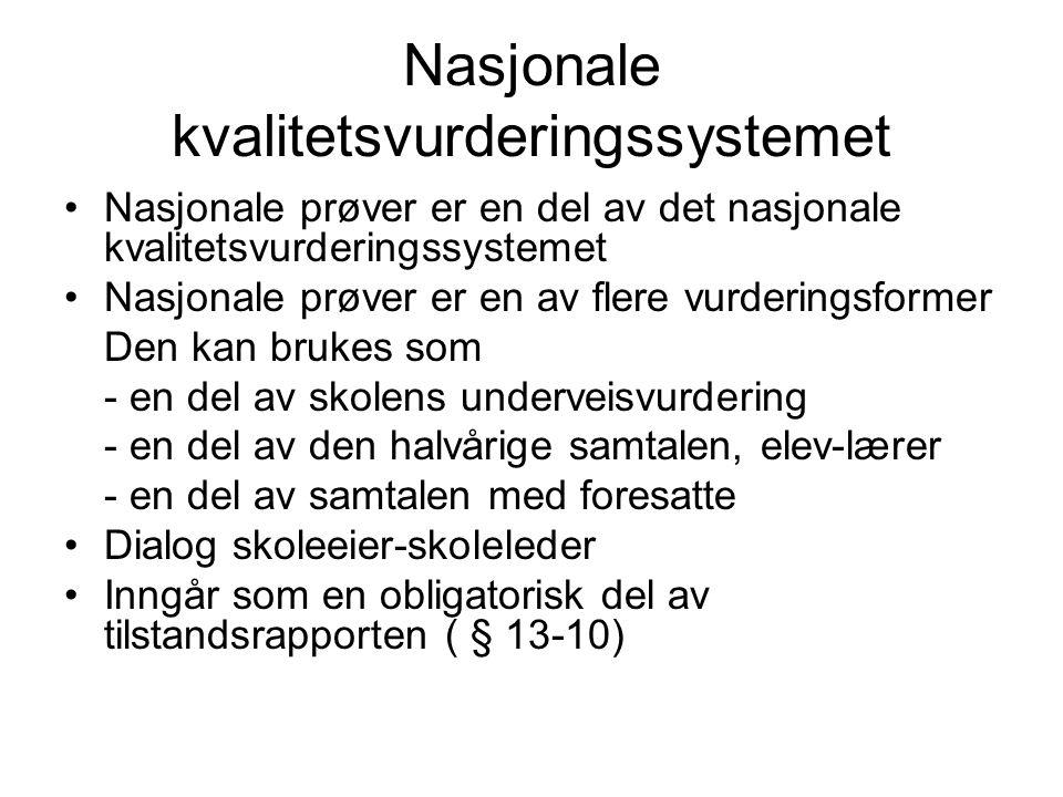 Nasjonale kvalitetsvurderingssystemet Nasjonale prøver er en del av det nasjonale kvalitetsvurderingssystemet Nasjonale prøver er en av flere vurderin