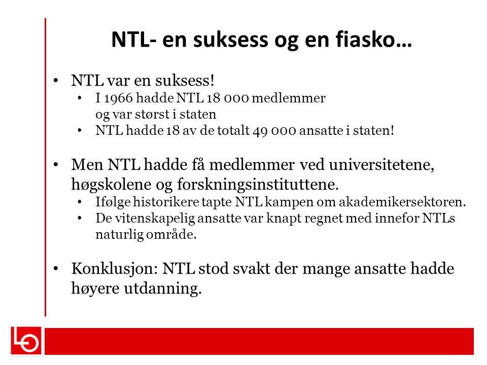 NTL- en suksess og en fiasko… NTL var en suksess! I 1966 hadde NTL 18 000 medlemmer og var størst i staten NTL hadde 18 av de totalt 49 000 ansatte i