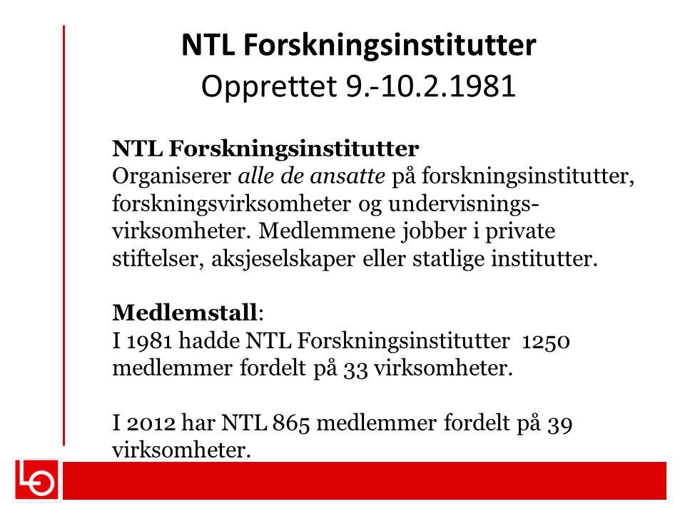 NTL Forskningsinstitutter Opprettet 9.‐10.2.1981 NTL Forskningsinstitutter Organiserer alle de ansatte på forskningsinstitutter, forskningsvirksomhete
