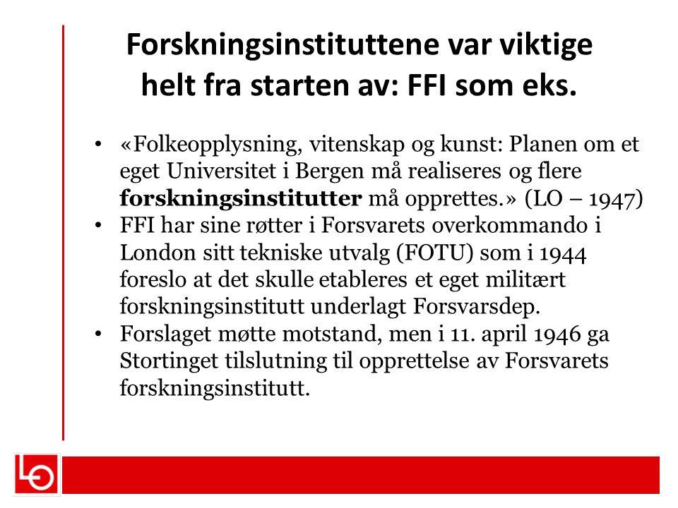 Forskningsinstituttene var viktige helt fra starten av: FFI som eks. «Folkeopplysning, vitenskap og kunst: Planen om et eget Universitet i Bergen må r