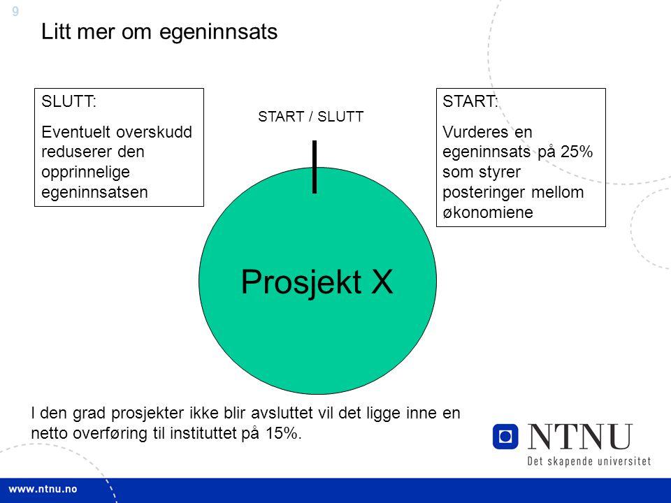 9 Prosjekt X START / SLUTT START: Vurderes en egeninnsats på 25% som styrer posteringer mellom økonomiene SLUTT: Eventuelt overskudd reduserer den opprinnelige egeninnsatsen I den grad prosjekter ikke blir avsluttet vil det ligge inne en netto overføring til instituttet på 15%.